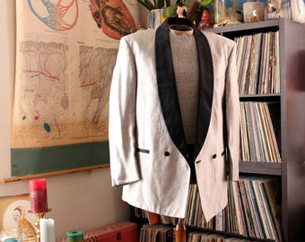mens silver tuxedo jacket by Lord West, approx size 39R