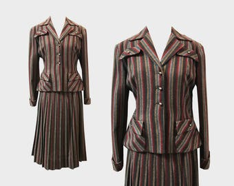 1940s Striped Suit by Koret of California