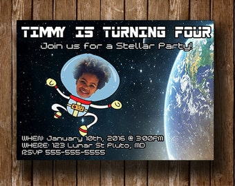 Space themed Birthday party DIY digital invitation - Photo