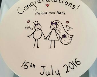 Wedding gift. Wedding plate for the lovely newly weds