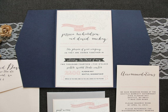 Navy and Blush Wedding Invitation Rustic Wedding Invite