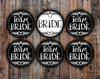 Black and White Bride and Team Bride pins, 2.25 inch, for bachelorette, shower, wedding