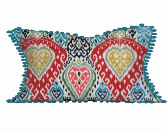 Colourful Mexican Pillows, Spanish Interior Decor, Bright Cushions with Bauble Trim