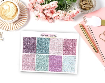 Glitter hearder LAVENDER tone planner stickers for Erin Condren Life Planner Vertical layout