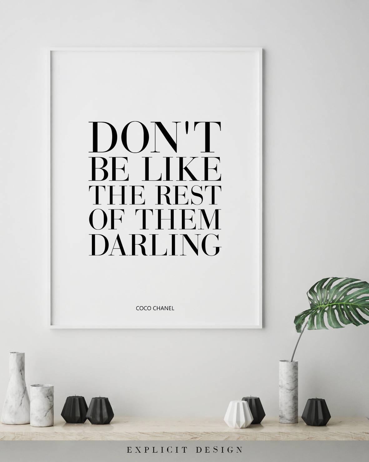 Coco Chanel Zitat bedruckbar motivierende Mode Phrasen Frau