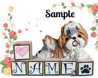 Tan and white Shih Tzu with lavender rose PERSONALIZED with your dog's name on blocks by Sally's Bits of Clay