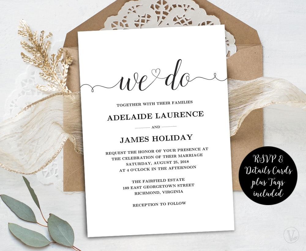 Downloadable Wedding Invitation Templates: Wedding Invitation Template Rustic Wedding Invitations Kraft