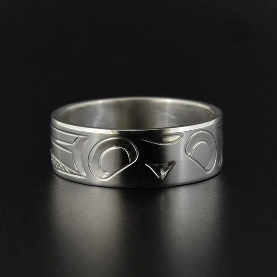 Owl Wedding Ring Northwest Native Indian Band 14 Wide