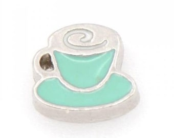 Tea Coffee Cup Floating Locket Charm Living Memory Lockets Jewelry Making Supplies - 61h