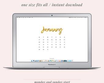 2018 Monthly Calendar Desktop Background and Wallpaper | Gold Texture | Instant Download | Laptop and iPad Organiser | JPEG Wallpaper
