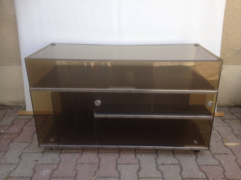Vintage Hifi Turntable 70s Vintage Smoked Plexiglass Furniture # Meuble Hifi Vintage