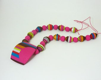 Fuchsia necklace, Stripes long necklace, Fun colorful jewelry, Polymer clay jewelry, Unique gift for her, Everyday jewelry, Casual necklace