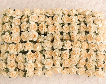 144 Paper Roses /  Buttercream / Cream / Blush / 14mm / 0.5 Inches / 12 Dozen Flowers / Bridal / Scrapbooking / Wedding Favors / Millinery
