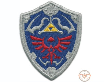 Legend of Zelda Patch - Hylian Shield - Geeky Embroidered Video Game Iron on Patch