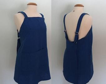 Royal Blue Apron, Japanese Apron Linen, Garden Apron, Artist Apron, Linen Wrap Apron, Blue Pinafore, Linen Wrap Dress, Short or Long Length