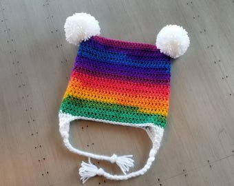 Crochet Rainbow Hat with ear flaps and braids