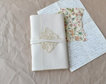 White Leather Journal with Khadi Paper