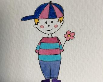 A6 hand-drawn cool dude card