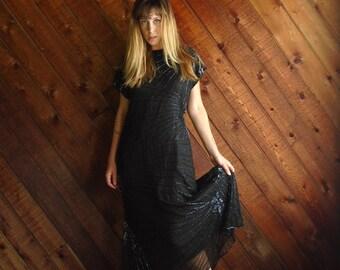 Black Beaded Silk Evening Gown Dress with Skirted Fishtail Mermaid Hem Vintage 80s MEDIUM M