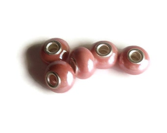5 Beads,Rose Colored Handmade Porcelain  European Style Beads, Jewelry making Supply, rondelle for European style bracelets