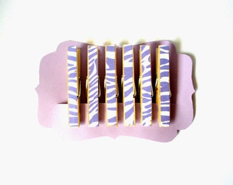Decorative Clothespins//Purple Zebra Stripe//Zebra Stripe//Purple//Chip Clips//Decoration//Unique Gift Idea//Stocking Stuffers//Gift for Her
