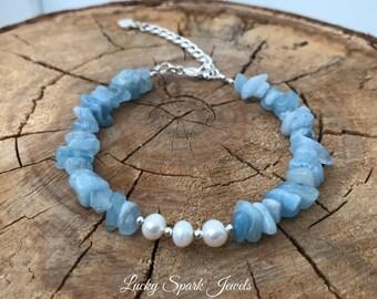 Aquamarine bracelet, Aquamarine silver bracelet, fresh water pearls bracelet, march birthstone, aquamarine, gemstone bracelet, blue bracelet
