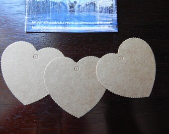 10 labels kraft hearts approximately 5.5 x 5.8 CM