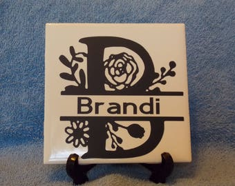 Personalized Split letter Floral Tile 4x4 white ceramic tile with vinyl