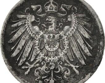 germany - empire 5 pfennig 1917 stuttgart vf(30-35) iron km19
