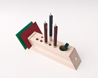 Desk Caddy, Wood Desk Organizer, Office Accessories, Wood Pen Pencil Holder FELICIA