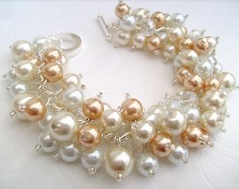 Pearl Beaded Bracelet, Bridal Jewelry, Wedding, Pearl Bridesmaid Bracelet, Cluster Bracelet, Pearl Bracelet, Ivory Gold White Pearl Jewelry