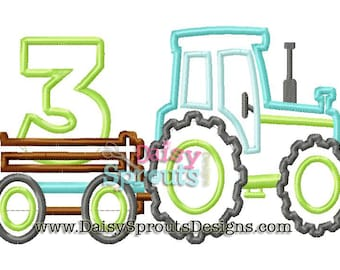 Tractor Pulling Number 3 - Machine Applique - Instant Download
