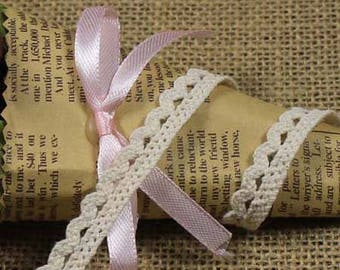 x 1 meter Ribbon lace with fringe cotton Beige Y01004 1 CM wide