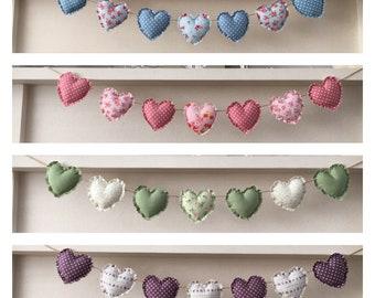 Handmade heart garland/bunting shabby chic - various colours
