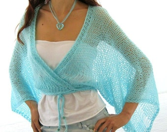 AQUA ...SEA BREEZE...Elegant Hand Knitted  Vest, Bolero, Shrug, kimono sleeves