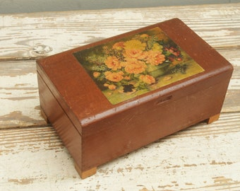 Vintage Wooden Box with Roses Decal