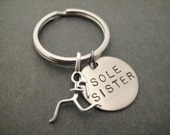 SOLE SISTER with Sterling Silver Runner Girl Charm Key Chain / Bag Tag - Ball Chain or Key Ring - Training Partner - Female Runner Group