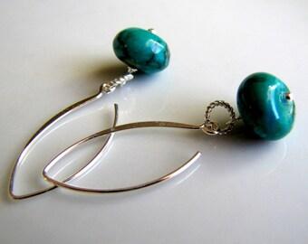 Sterling Silver Earrings Teal Blue Earrings Minimalist Earrings Beach Jewelry Simple Earrings Summer Earrings Every Day Earrings Gemstone
