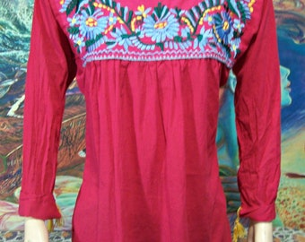 Embroidered Blouse, Rose, Pink, Mexican, Long sleeve, Blouse, size M