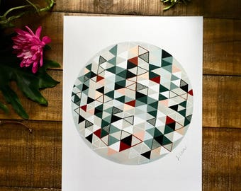 Abstract art print, red, gray, black, triangle, circle,   watercolor painting, illustrated,  archival,  design