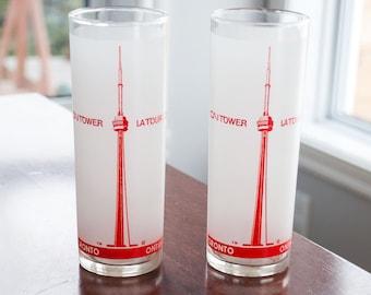 2 Vintage CN tower Glasses - Mid century