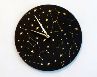 Unique Wall Clocks, Indoor Wall Clock, Space Wall Decor, Constellation Wall Clock