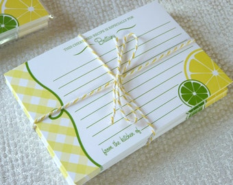 Lemon Recipe Cards / Gingham Recipe Cards / Custom Recipe Cards / Personalized Recipe Cards