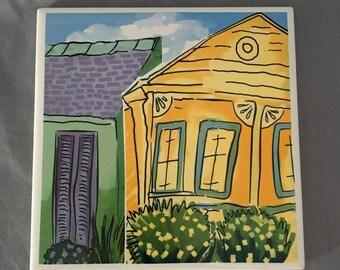 """Neighboring Shotgun Houses 6"""" x 6"""" Porcelain Tile Trivet"""