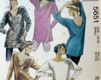 Misses Tunic Sewing Pattern - Misses Top Sewing Pattern - Misses Shirt Sewing Pattern - McCalls 5651 - New - Uncut - Size 10 - 12