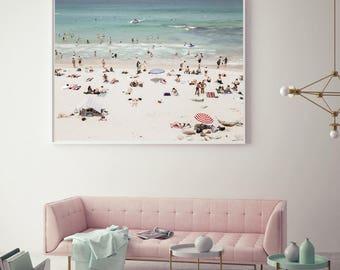 Beach print, Beach photography, Bondi Beach, summer photography,  beach people, aerial beach print, beach sunbathers, pastel photography