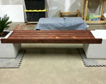 Outdoor Concrete Bench Planter - RHOMBA