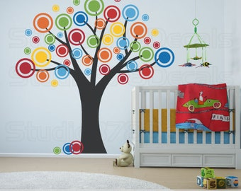 Nursery Tree Vinyl Wall Decal - Polka Dots Bubble Tree - Childrens Decor - Nursery Wall Decals - Dots and Circles Decals - 78x78