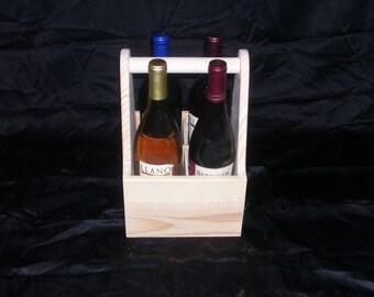 Wooden Wine Tote 4 Bottle