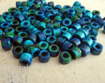6mm x 4mm Mykonos Greek Ceramic Mini Tube Spacer Beads - Aegean Blue Green Mix - 25 pcs - Central Coast Charms